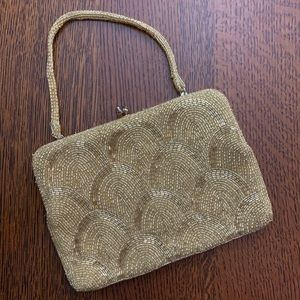 Vintage Gold Beaded Purse Small 1940s/1950s